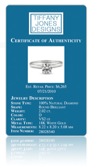 diamond certificate of authenticity template - tiffany jones designs ebay stores