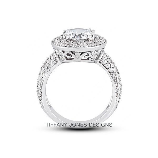 T. Jones Designs 4.01 Carat Total H-SI1 Very Good AGI Cert Round Natural Diamond Platinum 950  Four-Row Pave Engagement Ring at Sears.com