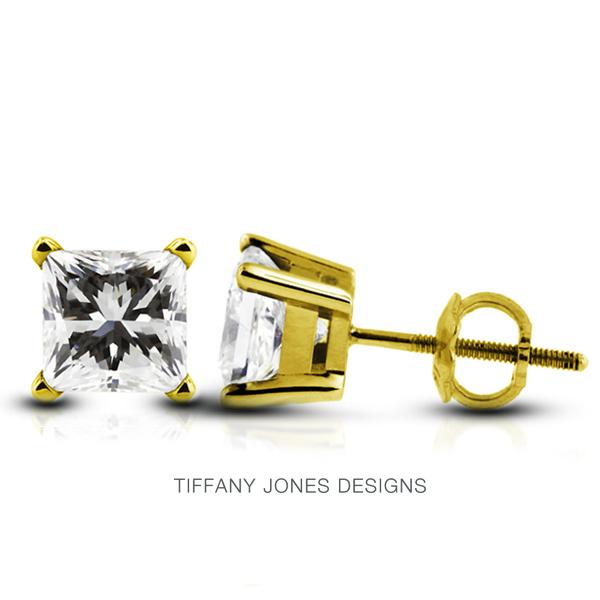 T. Jones Designs 1.43 Carat Total F-SI1 Ideal AGI Certificate Princess Natural Diamond 14K Yellow Gold Classic Solitaire Earrings at Sears.com