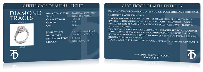 Exemple of Tiffany Jones Designs Certificate of Authenticity