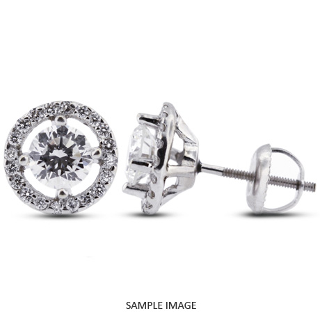 Round Brilliant 14k White Gold Halo Diamond Stud Earrings G