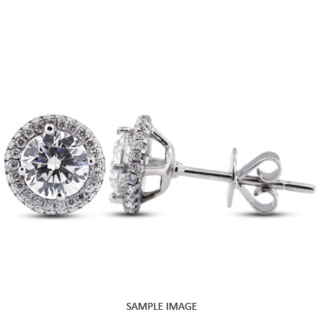 1.31 Carat tw. Round Brilliant 18k White Gold Halo Diamond Stud Earrings (F-SI2)