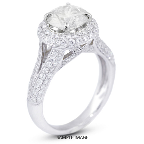 18k White Gold Halo Engagement Ring Setting with Diamonds (2.82ct. tw.)