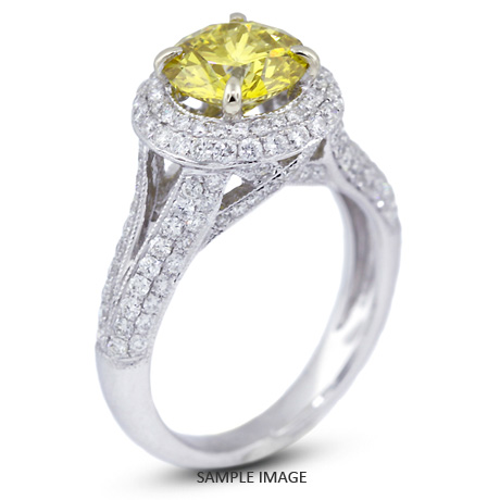 18k White Gold Halo Engagement Ring 3.50 carat total Yellow-SI1 Round Brilliant Diamond