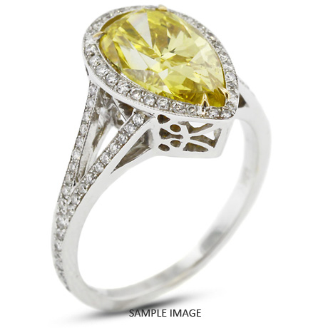 18k White Gold Vintage Halo Engagement Ring 4.12 carat total Yellow-VS1 Pear Shape Diamond
