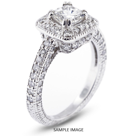 714aa38e9 14k White Gold Vintage Halo Engagement Ring 2.37 carat total E-VS1 Princess  Cut Diamond