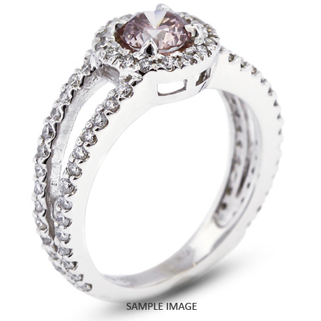 14k White Gold Halo Engagement Ring 1.74 carat total Pink-SI1 Round Brilliant Diamond