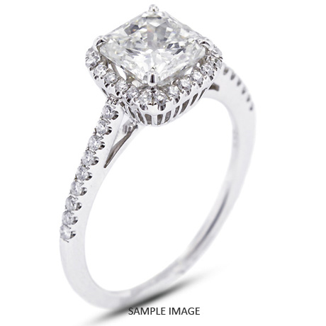 18k White Gold Halo Engagement Ring 1 42 Carat Total G Si1 Square Radiant Cut From Tiffany Jones Designs