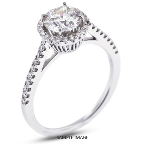 6da2c06b2 18k White Gold Halo Engagement Ring 1.28 carat total E-SI1 Round Brilliant  Diamond