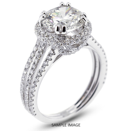 081845dcb 18k White Gold Halo Engagement Ring 3.47 carat total I-SI1 Round Brilliant  Diamond
