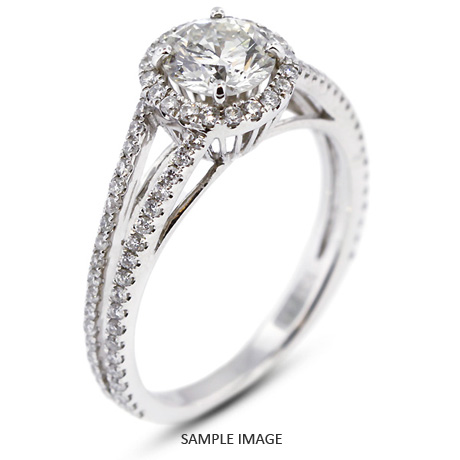 b38de569ac9 18k White Gold Halo Engagement Ring 2.55 carat total E-SI1 Round Brilliant  from Tiffany Jones Designs