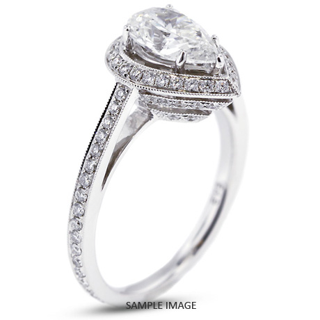 c0f8f7970 18k White Gold Halo Engagement Ring 2.04 carat total D-SI1 Pear Shape  Diamond