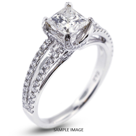 18k White Gold Engagement Ring 193 carat total GSI1 Square Radiant