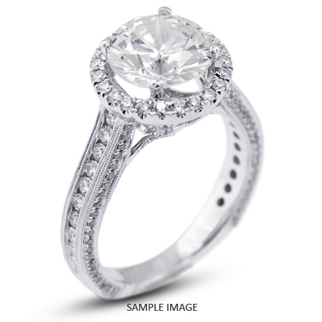 ffcb0c31a 18k White Gold Halo Engagement Ring 4.28 carat total I-SI1 Round Brilliant  Diamond
