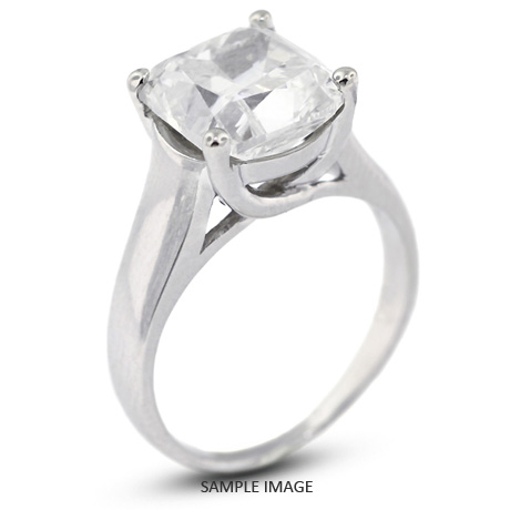 Platinum Trellis Style Solitaire Engagement Ring 2 75ct E Si1 Square Cushion Cut Diamond