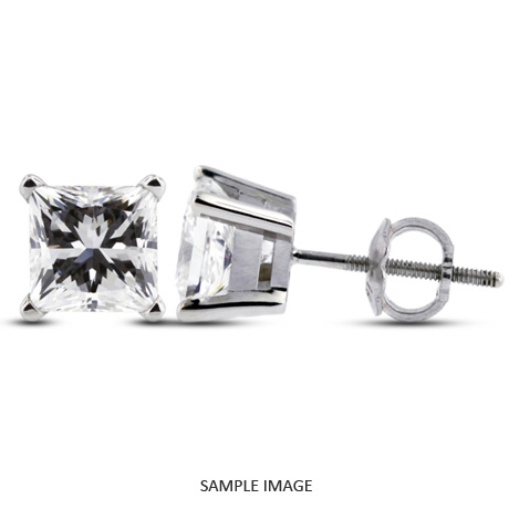 Princess Cut Diamond Basket Style Stud Earrings 14k White Gold D