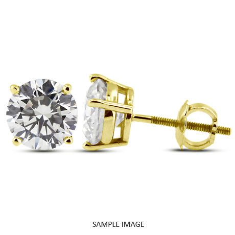 0.80 Carat tw. Round Brilliant Diamond Basket Style Stud Earrings 14k Yellow Gold (F-VS2)