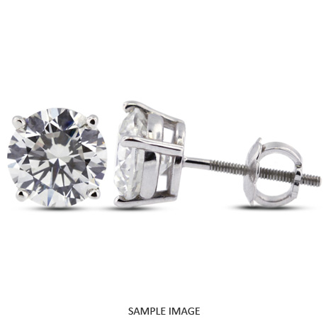 Round Brilliant Diamond Basket Style Stud Earrings 14k White Gold G
