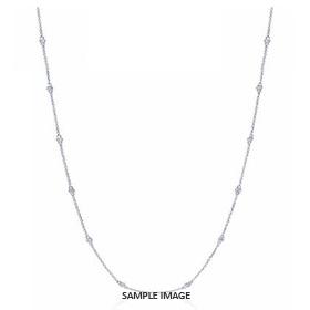 1.40 Carat tw. 14 Round Brilliant Diamonds set in 18k White Gold Diamond by the Yard Necklace (F-VS2)