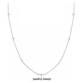 0.70 Carat tw. 7 Round Brilliant Diamonds set in 18k White Gold Diamond by the Yard Necklace (H-SI2)