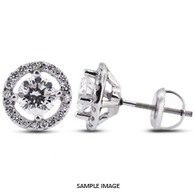 1.46 Carat tw. Round Brilliant 14k White Gold Halo Diamond Stud Earrings (E-VS2)
