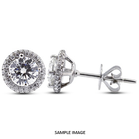 3.09 Carat tw. Round Brilliant 18k White Gold Halo Diamond Stud Earrings (D-VS2)