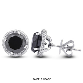 2.42 Carat tw. Round Brilliant 18k White Gold Halo Diamond Stud Earrings (Black-)