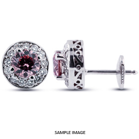 1.48 Carat tw. Round Brilliant 14k White Gold Vintage style Halo Diamond Stud Earrings (Pink-VS2)
