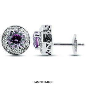 1.34 Carat tw. Round Brilliant 14k White Gold Vintage style Halo Diamond Stud Earrings (Purple-VS1)