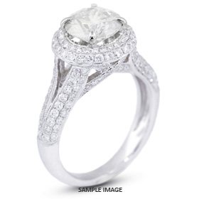 18k White Gold Halo Engagement Ring 3.26 carat total E-SI3 Round Brilliant Diamond