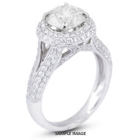 18k White Gold Halo Engagement Ring 3.26 carat total E-SI3 Round Brilliant Diamond