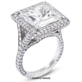 Platinum Vintage Halo Engagement Ring Setting with Diamonds (8.32ct. tw.)