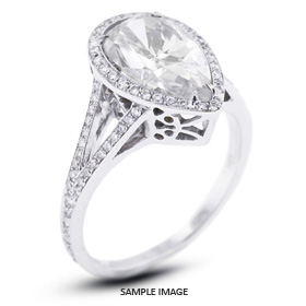 18k White Gold Vintage Halo Engagement Ring Setting with Diamonds (1.66ct. tw.)