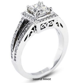 18k White Gold Vintage Halo Engagement Ring Setting with Diamonds (1.02ct. tw.)