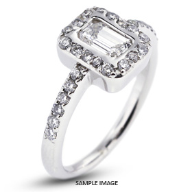 14k White Gold Halo Engagement Ring Setting with Diamonds (1.28ct. tw.)