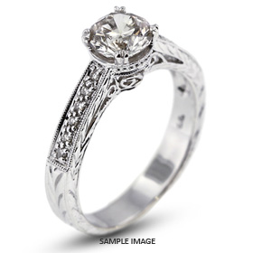 14k White Gold Vintage Engagement Ring Setting with Diamonds (0.51ct. tw.)