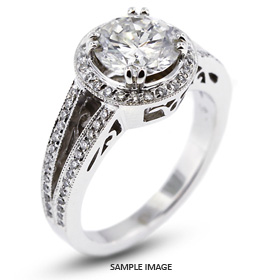 14k White Gold Vintage Halo Engagement Ring Setting with Diamonds (1.15ct. tw.)