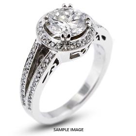 14k White Gold Vintage Halo Engagement Ring 2.26 carat total E-SI2 Round Brilliant Diamond
