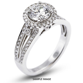 18k White Gold Halo Engagement Ring 1.78 carat total E-SI1 Round Brilliant Diamond