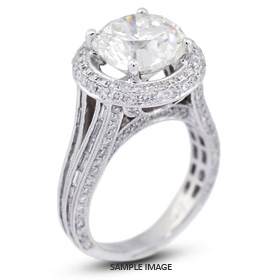 18k White Gold Halo Engagement Ring Setting with Diamonds (8.06ct. tw.)