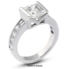 14k White Gold Engagement Ring 4.16 carat total G-SI3 Princess Cut Diamond