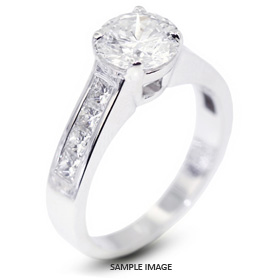 14k White Gold Engagement Ring 4.17 carat total G-SI2 Round Brilliant Diamond
