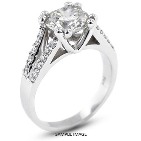 14k White Gold Engagement Ring 1.82 carat total D-SI1 Round Brilliant Diamond