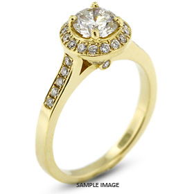 14k Yellow Gold Halo Engagement Ring 1.35 carat total D-VS2 Round Brilliant Diamond
