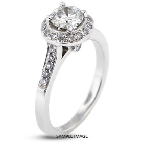 14k White Gold Halo Engagement Ring 1.38 carat total D-VS1 Round Brilliant Diamond