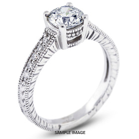 14k White Gold Vintage Engagement Ring 3.49 carat total D-SI1 Round Brilliant Diamond