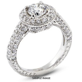 14k White Gold Vintage Halo Engagement Ring 2.25 carat total E-VS2 Round Brilliant Diamond