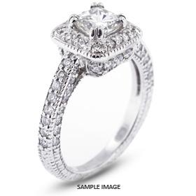 14k White Gold Vintage Halo Engagement Ring 2.35 carat total D-VS2 Princess Cut Diamond