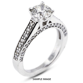 14k White Gold Engagement Ring 2.01 carat total D-SI1 Round Brilliant Diamond
