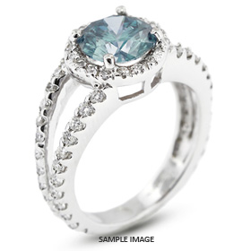 14k White Gold Halo Engagement Ring 1.75 carat total Blue-I1 Round Brilliant Diamond